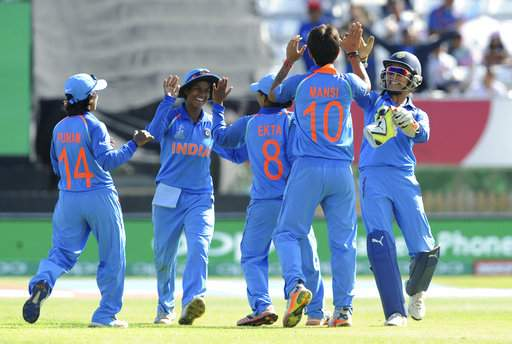 Indian cricketers celebrate the fall of the last wicket Pakistan captain Sana Mir during the ICC Women's World Cup 2017 match between India and Pakistan at County Ground in Derby, England, Sunday, July 02, 2017. (AP Photo)