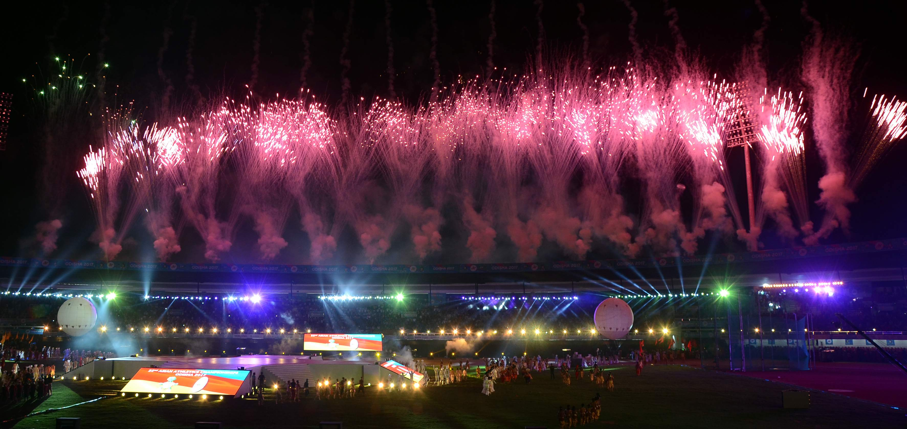 Fireworks light up the sky as part of the opening ceremony of 22nd Asian Athletics Championships in Bhubaneswar on Wednesday.|EPS