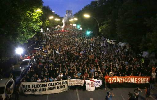 Thousands of people attend a protest against the G-20 summit in Hamburg, northern Germany, Thursday, July 6, 2017. The leaders of the group of 20 meet July 7 and 8. (AP Photo)
