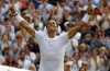 Rafael Nadal celebrates after winning against Russia's Karen Khachanov in their Men's Singles Match on day five at the Wimbledon Tennis Championships in London Friday. (AP)