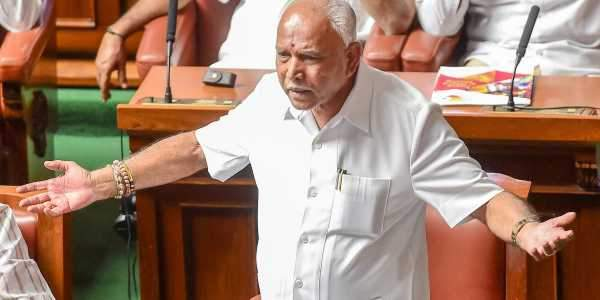 BJP state president B S Yeddyurappa at the parliament.